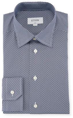 Eton Peacock-Print Cotton Dress Shirt