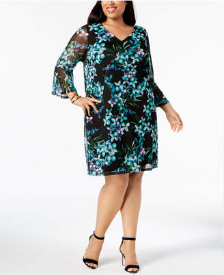 Connected Plus Size Bell-Sleeve Shift Dress