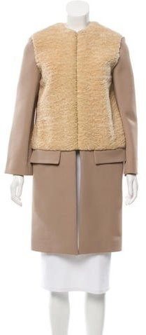 Celine Céline Knee-Length Fur-Paneled Coat