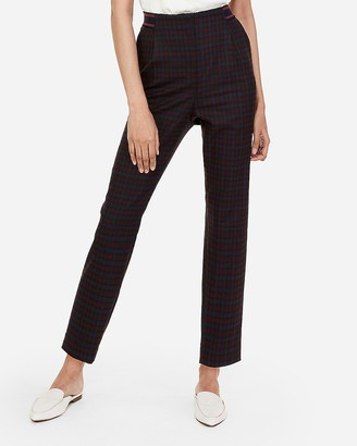 Express High Waisted Striped Waistband Plaid Ankle Pant