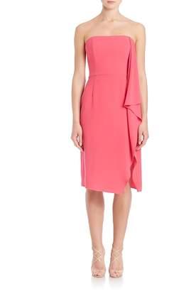 Halston Women's Strapless Asymmetrical Flowy Drape Dress