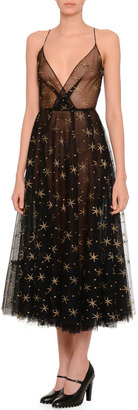 Valentino Star Illusion Tulle Dress, Black/Gold $1,622 thestylecure.com