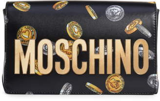 Moschino Logo Coin Print Faux Leather Crossbody Bag
