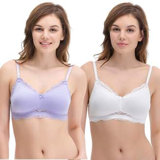 Curve Muse Plus Size Nursing Cotton Unlined Wirefree Bra with Lace Trim-2 Or 3PK