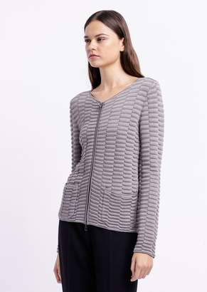 Emporio Armani Embossed Knit Cardigan With Zipper And Pockets