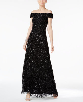 Adrianna Papell Sequined Off-The-Shoulder Gown $299 thestylecure.com