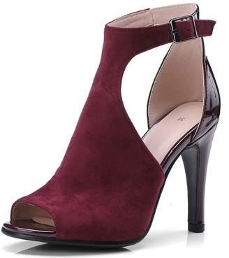 DecoStain Women's Peep Toe T Strap High Heels Sandals Party Work Pumps Dress Shoes