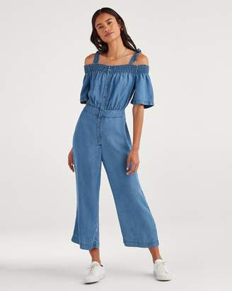 ea251ae34b3 7 For All Mankind Smocked Off-Shoulder Jumpsuit in Classic Blue