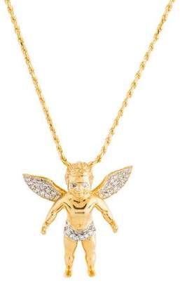 14K Diamond Angel Pendant Necklace