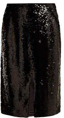 Ganni Sonora Sequinned Pencil Skirt - Womens - Black