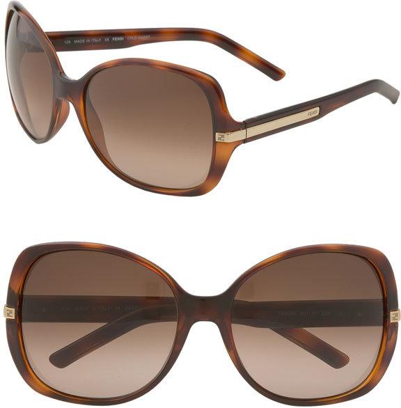 Fendi Metal Stripe Oversized Square Sunglasses