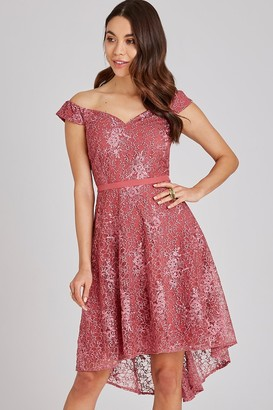 Little Mistress Cassidy Sienna Blush Lace Bardot Midi Dress