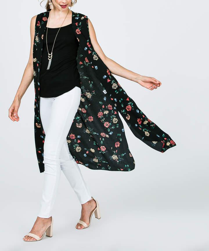 Black Floral Sleeveless Kimono - Women & Plus