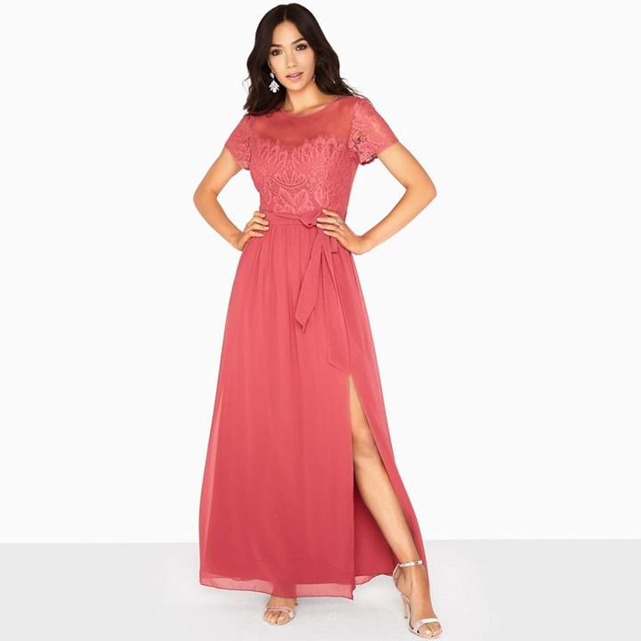 Pink Sara Eyelash Lace Top Maxi Dress