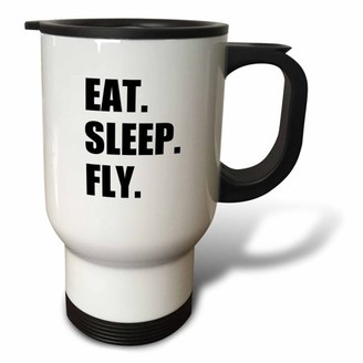 Fly London 3dRose Eat Sleep fun gifts for pilots flight crew and frequent flyers, Travel Mug, 14oz, Stainless Steel