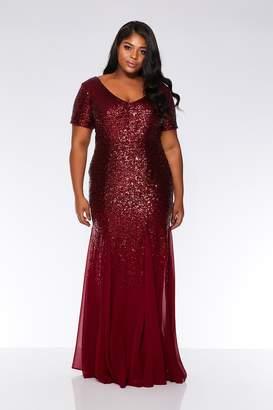 32bb9e1e Quiz Curve Wine Chiffon Sequin Maxi Dress