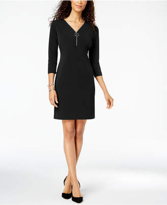 JM Collection Zip-Neck A-Line Dress, Created for Macy's