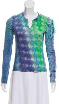 Just Cavalli Wool Printed Long Sleeve Top