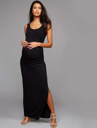A Pea in the Pod Side Ruched Maxi Maternity Dress