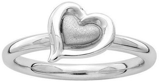 Simply Stacks Sterling Polished and Satin HeartRing