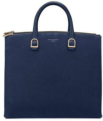 Aspinal of London EditorS Tote In Navy Nubuck Smooth Navy