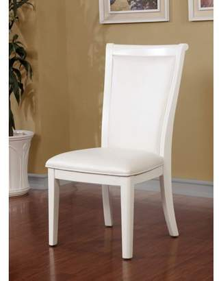 Furniture of America Lavida Contemporary Antique White Leatherette Dining Chair, Set of 2