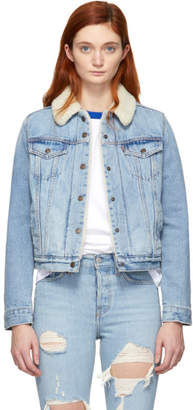 Levi's Levis Indigo Denim Sherpa Original Trucker Jacket