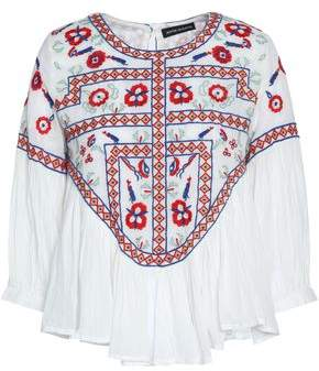 Antik Batik Embroidered Cotton-Gauze Top