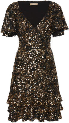 Michael Kors Sequin Silk-Blend Tiered Ruffle Dress