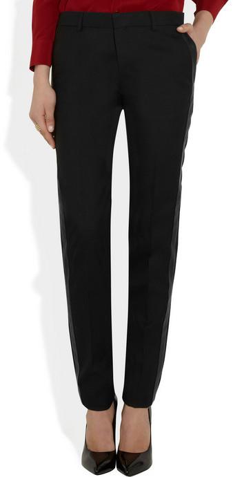 Saint Laurent Leather-striped wool-gabardine tuxedo pants