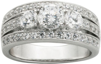 FINE JEWELRY DiamonArt Cubic Zirconia Sterling Silver 3-Stone Wedding Band $149.99 thestylecure.com