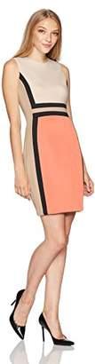 Calvin Klein Women's Petite Sleeveless Color Block Sheath Dress