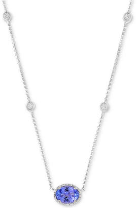 "Effy Tanzanite (5/8 ct. t.w.) & Diamond (1/3 ct. t.w.) 18"" Statement Necklace in 14k White Gold"