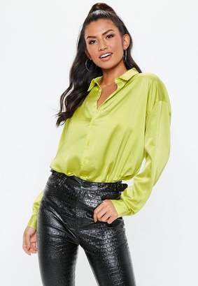Missguided Green Neon Oversized Satin Shirt