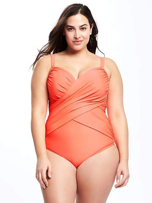 Old NavyFront-Wrap Control Max Plus-Size Swimsuit