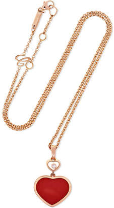 Chopard Happy Hearts 18-karat Rose Gold, Diamond And Red Stone Necklace
