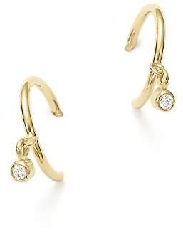 Chicco Zoë 14k Yellow Gold Tiny Huggie Hoop Earrings With Dangling Diamonds