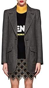 Fendi Women's Checked Wool-Blend One-Button Blazer - Gray