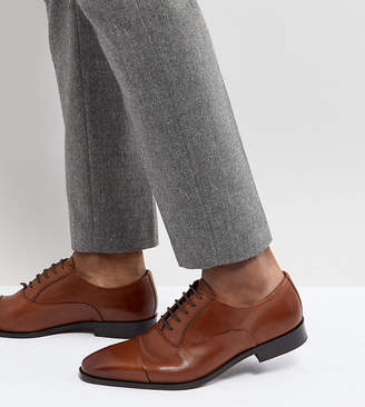 Dune Wide Fit Toe Cap Derby Shoes In Tan Leather