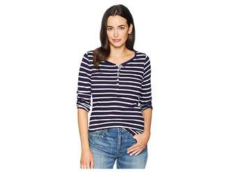 U.S. Polo Assn. Long Button Trimmed Sleeve Striped Tee Shirt Women's T Shirt