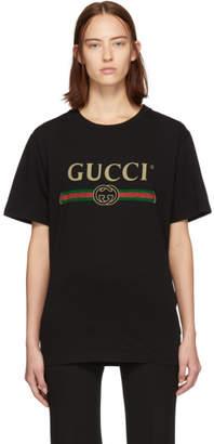 Gucci (グッチ) - Gucci ブラック オーバーサイズ ロゴ フラワー T シャツ