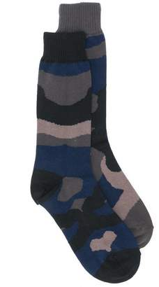 Sacai camouflage print socks