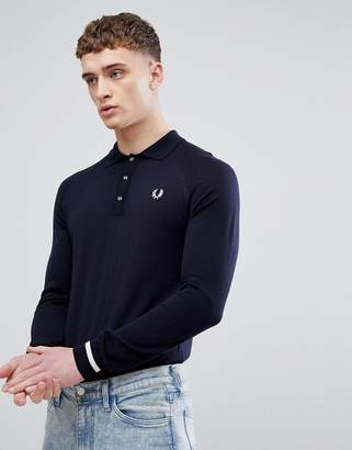 Fred Perry REISSUES Tipped Cuff Long Sleeve Polo in Navy