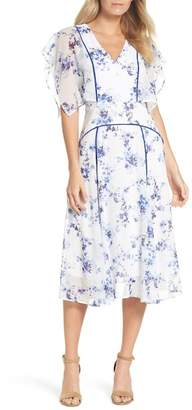 Chelsea28 Floral Flutter Sleeve Midi Dress