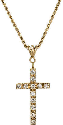 One Kings Lane Vintage 14K Diamond Cross Pendant Necklace - Precious & Rare Pieces