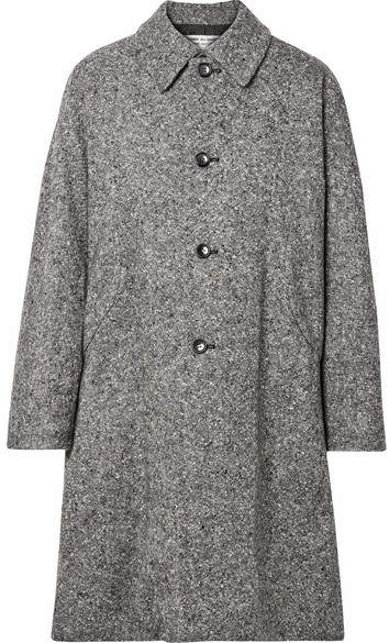 Oversized Wool-blend Tweed Coat - Gray
