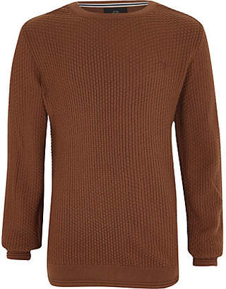 River Island Boys brown textured sweater