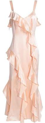 Cinq à Sept Feather-Embellished Ruffled Silk-Satin Midi Dress
