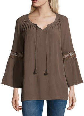 ST. JOHN'S BAY 3/4 Sleeve Lace Trim Peasant Blouse - Tall