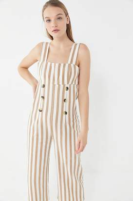 Urban Outfitters Murphy Striped Button-Front Cropped Jumpsuit
